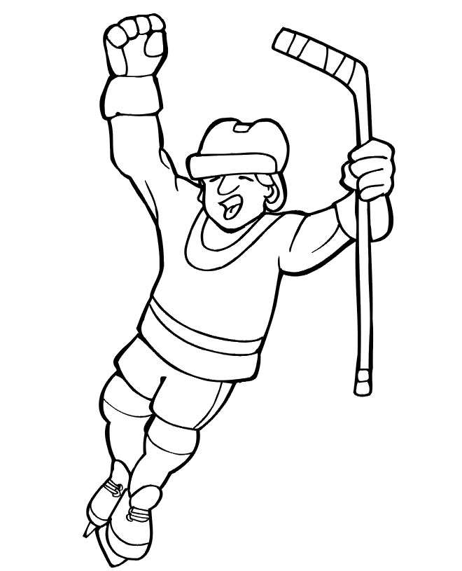 Hockey coloring page for kids