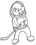Girl playing hockey coloring page