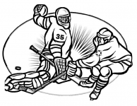 Goalie and player coloring page
