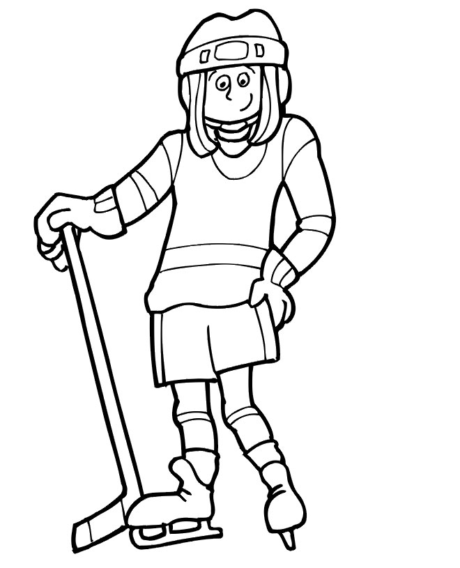 Girl playing hockey coloring page 1