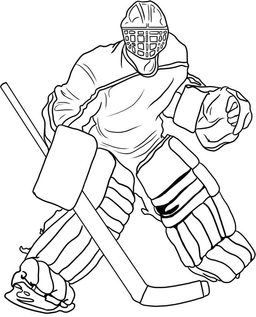 hockey goalie coloring page