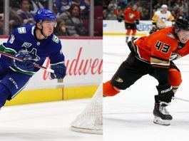 A Danton Heinen for Jake Virtanen trade is in the works, but can both teams agree on a trade as money is holding back the deal.