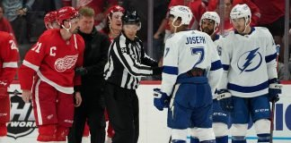 Dylan Larkin suspended one game for hit on Mathieu Joseph